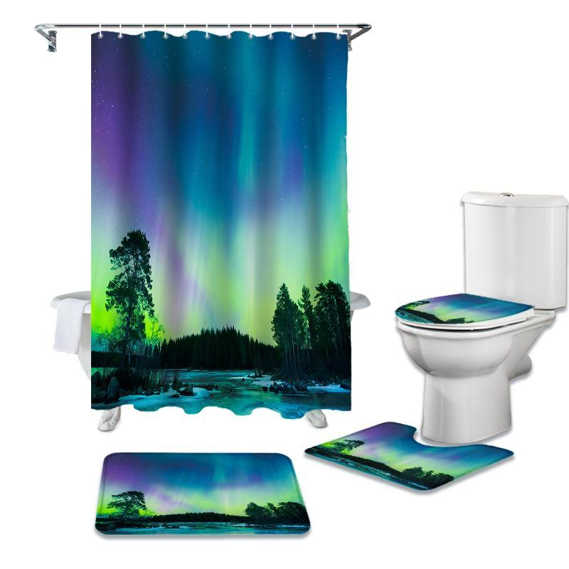 Северное сияние занавески для душа занавес ванной комнаты Ванна Комплекты Туалет Обложка ковриком Washroom Ковер Set