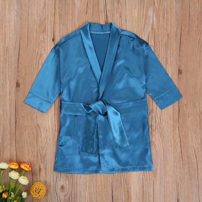 6m-6y peignoir pour bébé bébé garçons 2021autumn Solide manches longues robes droites en vrac avec la ceinture vêtements de nuit Nightwear Kimono
