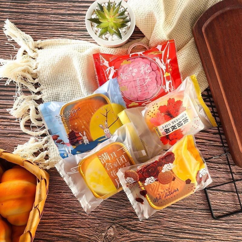100 pcs / lote novo floco de neve floco de neve saco de presente chinês elementos festival artesanal cookie mooncake partido plástico nougat saco