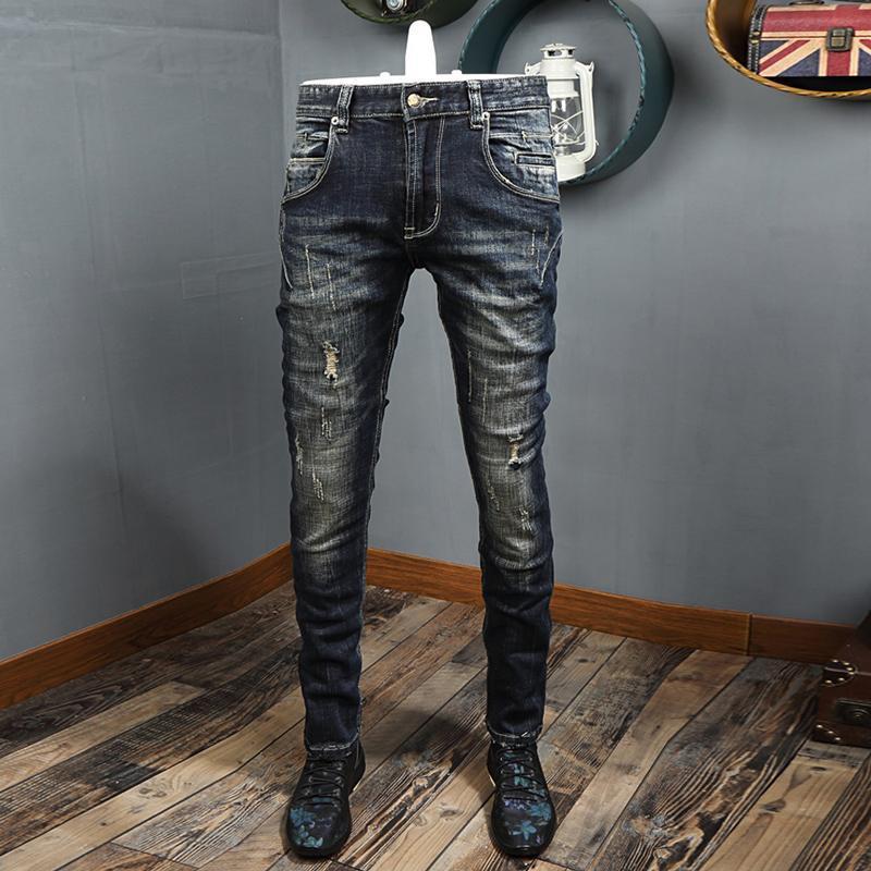 Jeans pour hommes automne Ly Mode Vintage Hommes de haute qualité Retro Black Bleu déchiré Deniers Pantalons Streetwear Hip Hop Biker Pantalon Homme