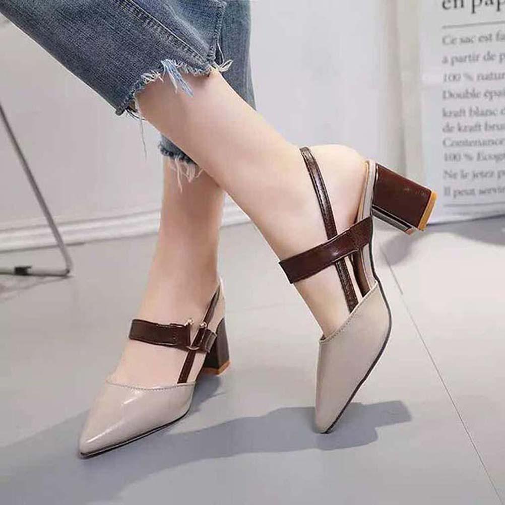 Classics Женские sandalsfashion Бич толстым дном сандалии алфавит леди сандалии кожа высокой пятки обувь 07 P509