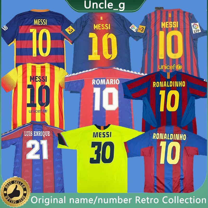 Retro Messi Fußball-Trikots Ronaldinho Henry A Insta Ronaldo Kluivert Stoichkov Koeman Xavi Pique Football Vintage Shirts Klassische 11 12 13