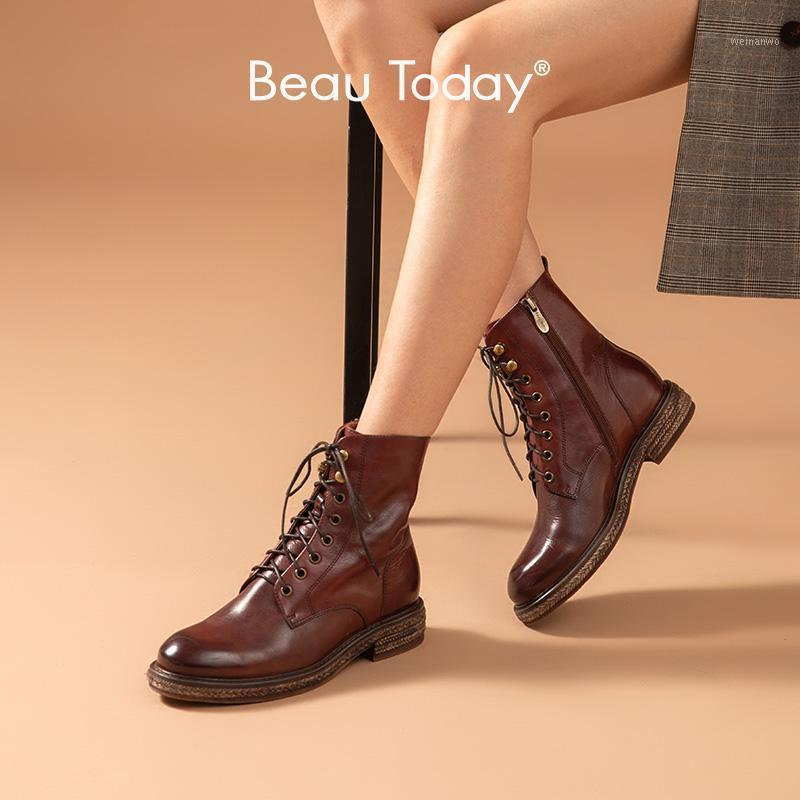 Beautoday Fashion Knöchelstiefel Frauen Echtes Kuh Leder Wachsen Runde Zins Seil Sohle Lace-up Winter Lady Boots Handgemachte 036491