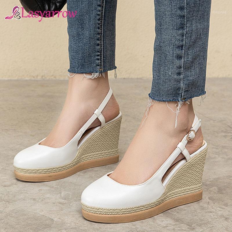 LasyRrow White Black Pink Womens Wedges Platform Shoes Weave Design Women Tacones altos Slingbacks Zapatos de fiesta Bombas de verano 20211