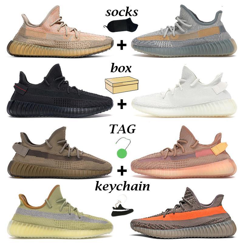 2021 Kanye Erkekler Kadınlar Açık Ayakkabı Kum Taupe Karbon Kültür Statik Siyah Lundark Zebra Dünya Kil Erkek Eğitmen Açık Sneakers ile Kutusu