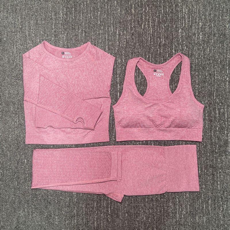 Yoga Vital sin fisuras de cultivos Conjunto de deporte Mujer de manga larga Top + gimnasio + polainas trajes del deporte sujetador femenino Fitness Sports 3 Piezas