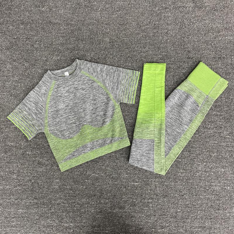 Женщины Наборы с коротким рукавом Высокая талия Спортивные Леггинсы Гидрафон Сердес Одежда Yoga Спортивный Костюм Фитнес Топ Рубашка Y1229