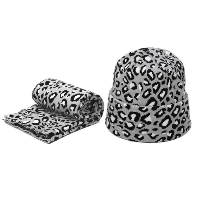 2pcs Mulheres Inverno Wool Hat Beanie Scarf Set Printing Leopard Spots Sexy Outdoor X7XC