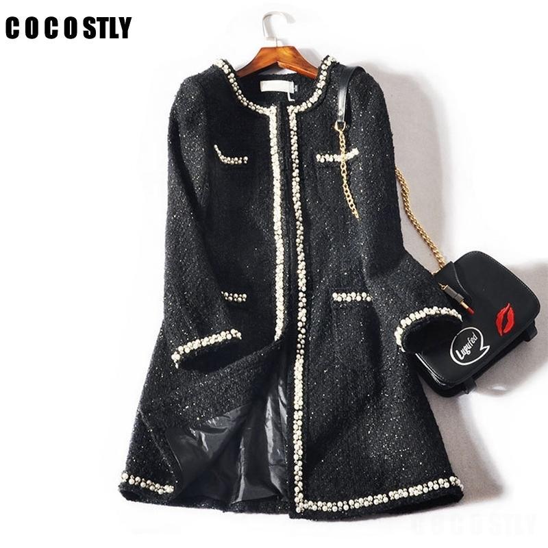 Зимнее пальто женщина мода дизайн роскошные взлетно-посадочные полосы твиду пальто куртка с длинными рукавами кнопка женщины осень зима шерстяные пальто lj201110