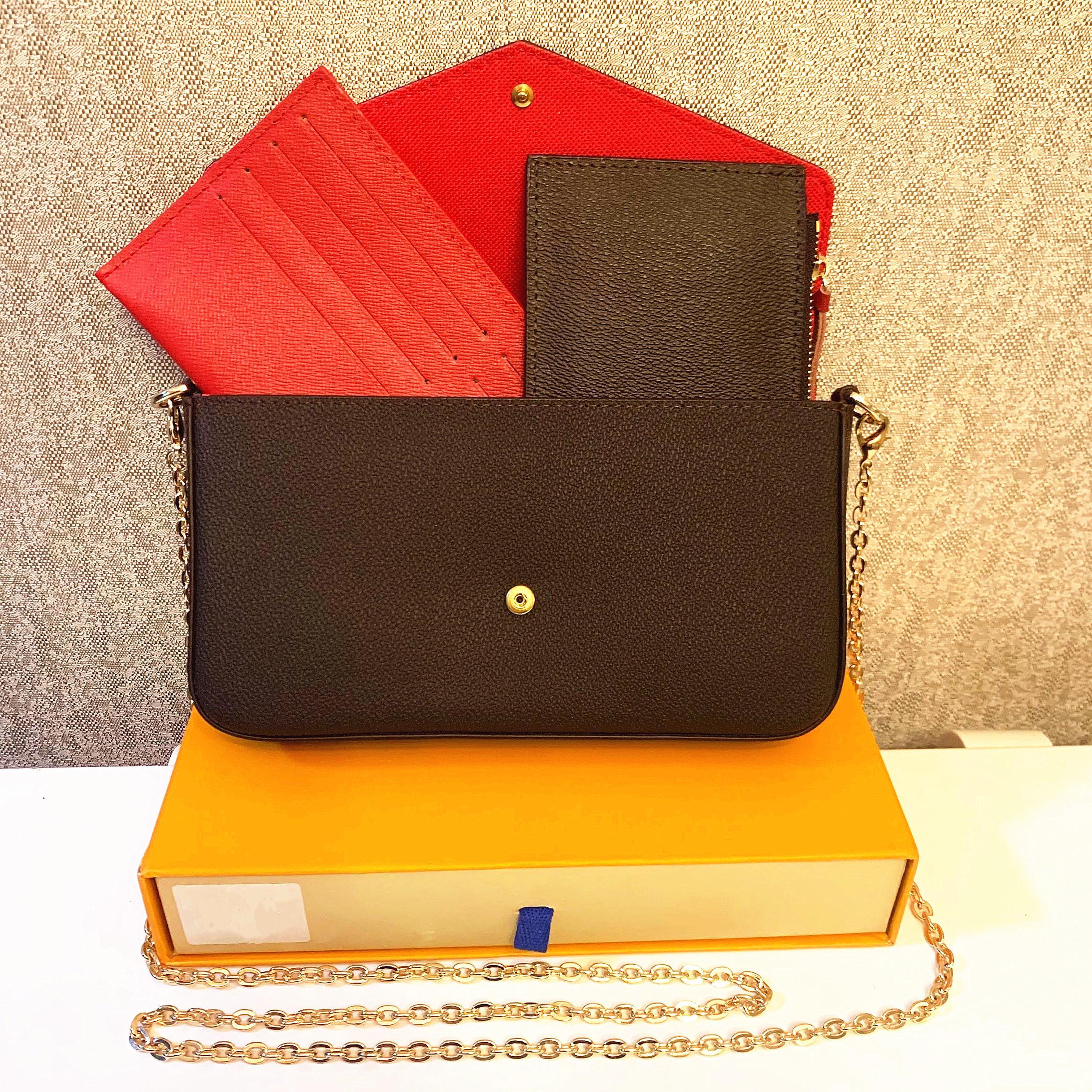 3 PCS / 세트 좋아하는 멀티 포크 액세서리 여성 크로스 바디 지갑 메신저 가방 핸드백 꽃 디자이너 어깨 레이디 가죽 상자