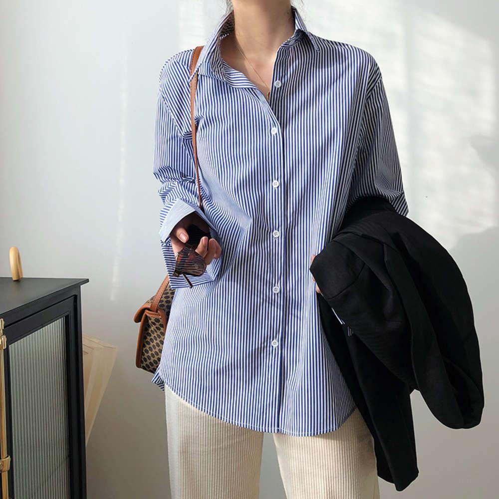 6tluxi azul azul camisa a rayas de manga larga 2021 primavera nuevo coreano suelto neutro novio top 986