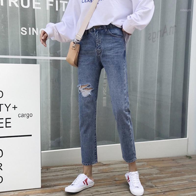 Yeni Varış Bahar Kore Moda Kadınlar Yüksek Bel Kot Diz Yırtık Kot Tüm-Eşleşen Rahat Vintage Denim Pantolon Blue S3111