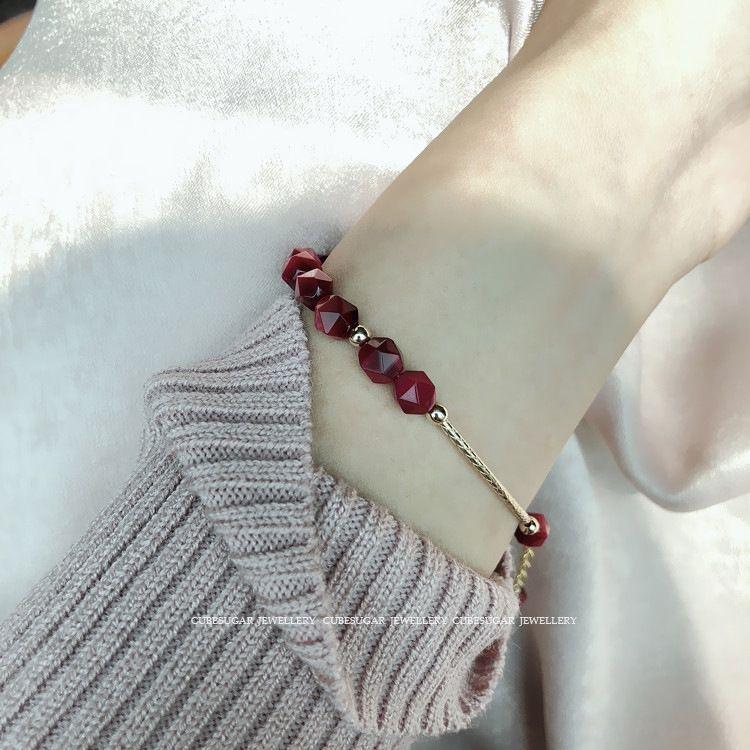 La pulsera de piedra braceletbracelet braceletpeach flor es Whiterose rojo brillo geométrica sección de tigre cadena de piedra ojo de la mano EiSaZ