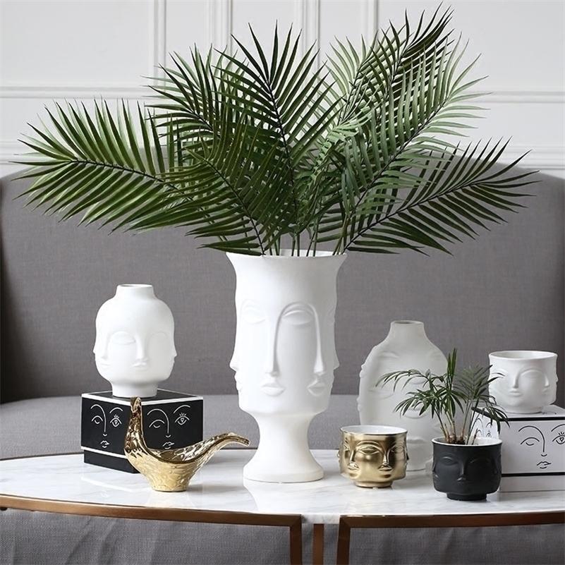 Керамическая ваза Muse Face Multifated Vase Украшение Домашней Ваза Искусственные Цветочные Украшения LJ201209