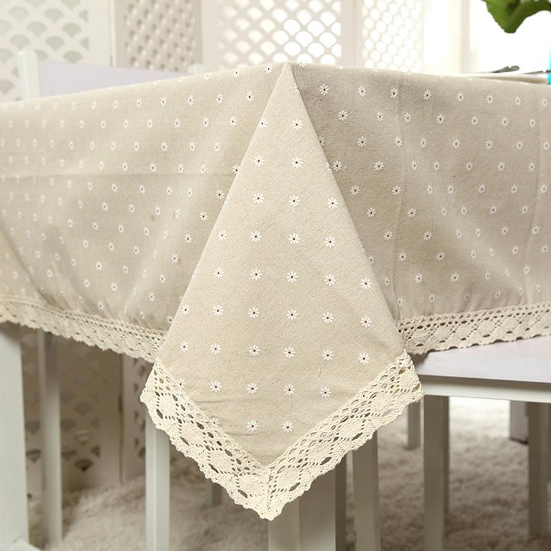 Mantel de flores de margarita mantel de lino espesado y algodón borde de tela rectangular para bodas Home Hotel Textile