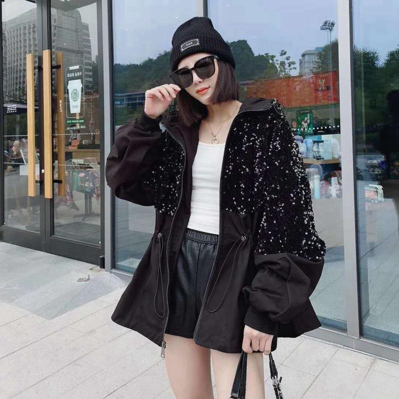 Heavy industry sequin stitching coat cotton coat women's autumn and winter 2021 new loose hooded plus cotton top