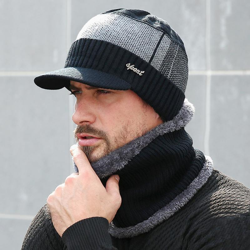 Chapeaux d'hiver pour les hommes Skullies Bonnet Bonnet d'hiver Hommes Femmes écharpe de laine Casquettes Ensemble Balaclava Masque Bonnet Gorras Bonnet 2020