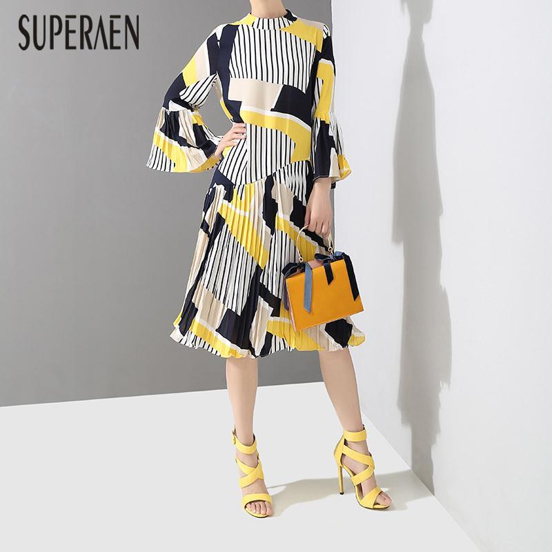Superaen koreanische Art-Frauen-Kleid, lange Hülse wildes Baumwollkleid Weibliche Stehkragen Frühlings-neue Frauen Kleidung 201022