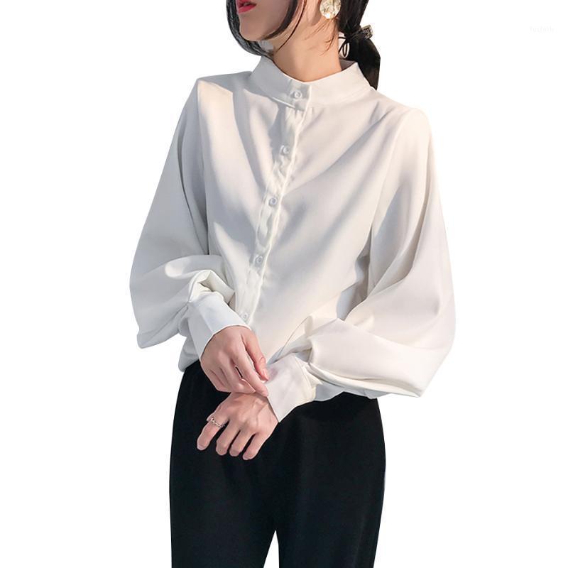 Mujer linterna manga blusa camisa mujeres otoño invierno soporte collar oficina señora trabajo sólido vintage blusa camisas mujer blusas1