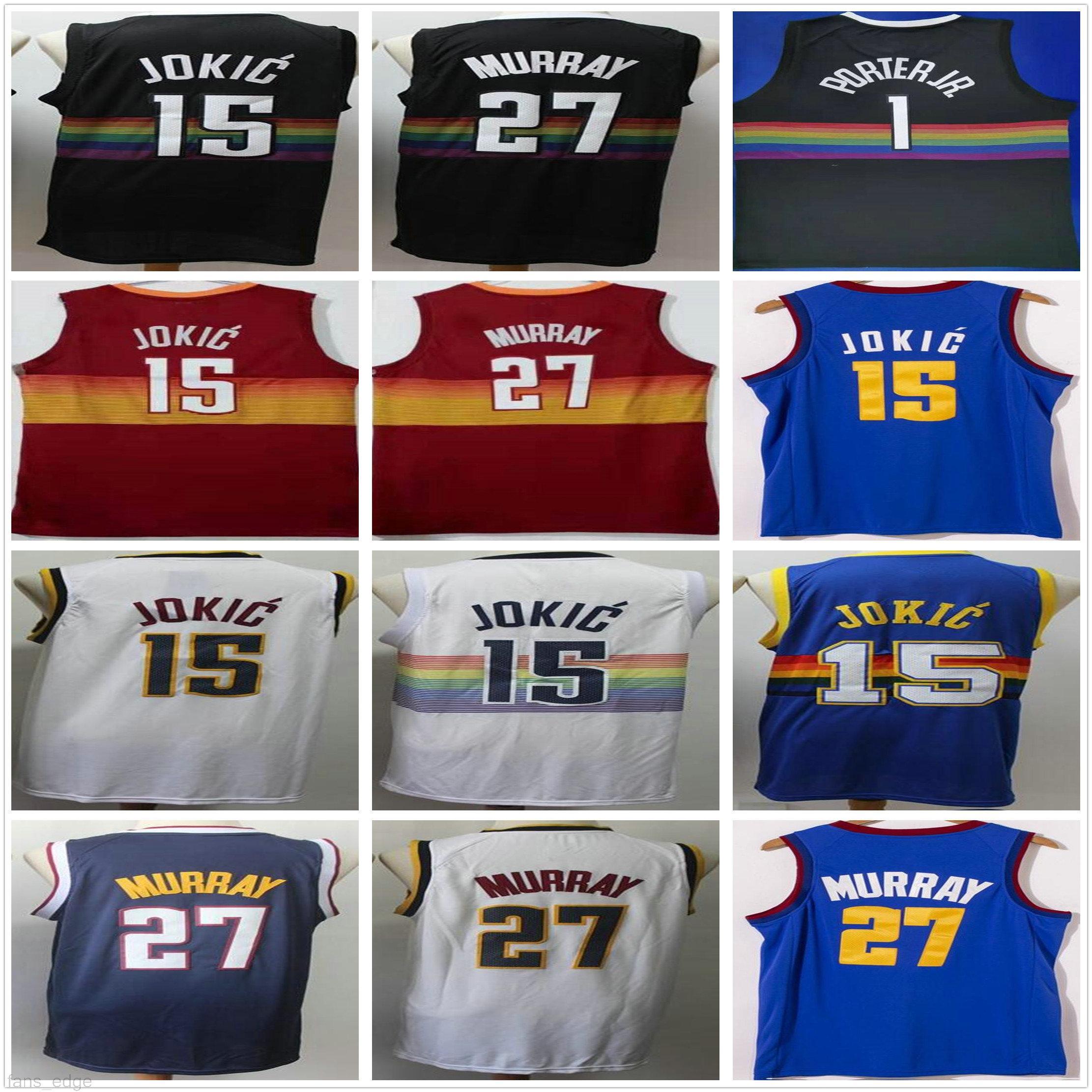 NCAA رجل نيكولا 15 Jokic جيرسي بالجملة رخيصة جمال 27 موراي مايكل 1 بورتر جونيور الرجعية أزرق أبيض أسود كرة السلة الفانيلة