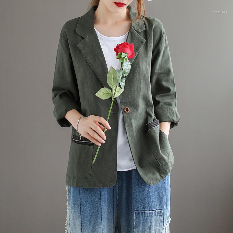 Katı Renk Rami Rahat Suit kadın Ceket Vintage Retro Gevşek Ince Sonbahar Çentikli Kadın Ceket Blazer Feminino 2020 Yeni Geliş1