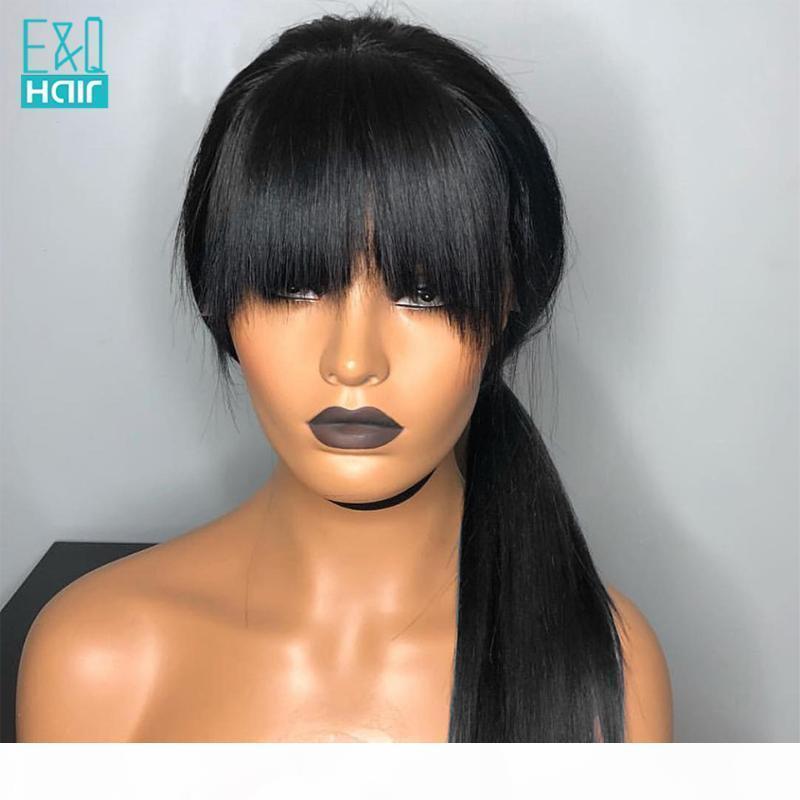 Recta pelucas de cabello humano con explosiones Preplucked BrazilianRemy 13x4 Frente Humano de encaje pelucas de pelo Negro Para mujeres con el bebé 150