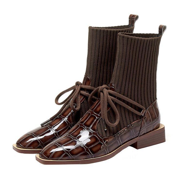 charol retro Corea botas cortas calcetines elastizados cargadores de las mujeres celebrityboots netos botas de suela plana de siembra
