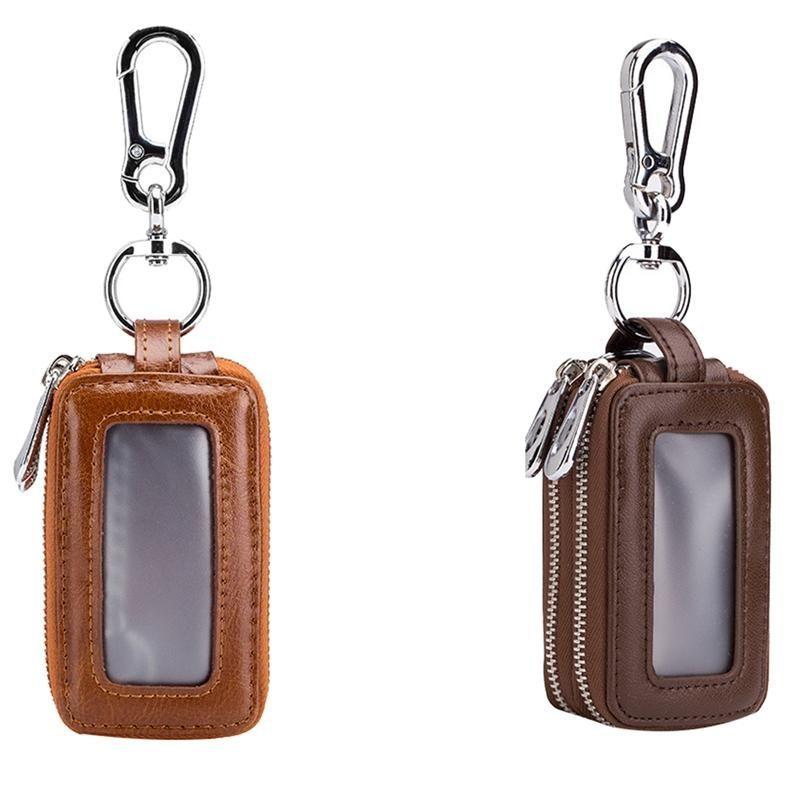 2 Stück Leder Home Auto Key Kasten Doppel Tasche Reißverschluss Mini Brieftasche Keychain Transparente Tasche gelb dunkelbraun