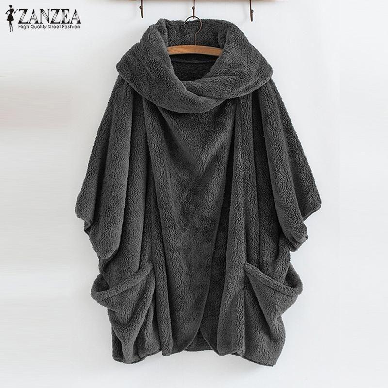ZANZEA femmes Fluffy manteau surdimensionné Batwing veste à manches Bouton Femme Outwear Hiver chaud Poncho Top Cavaliers Lady Automne solide