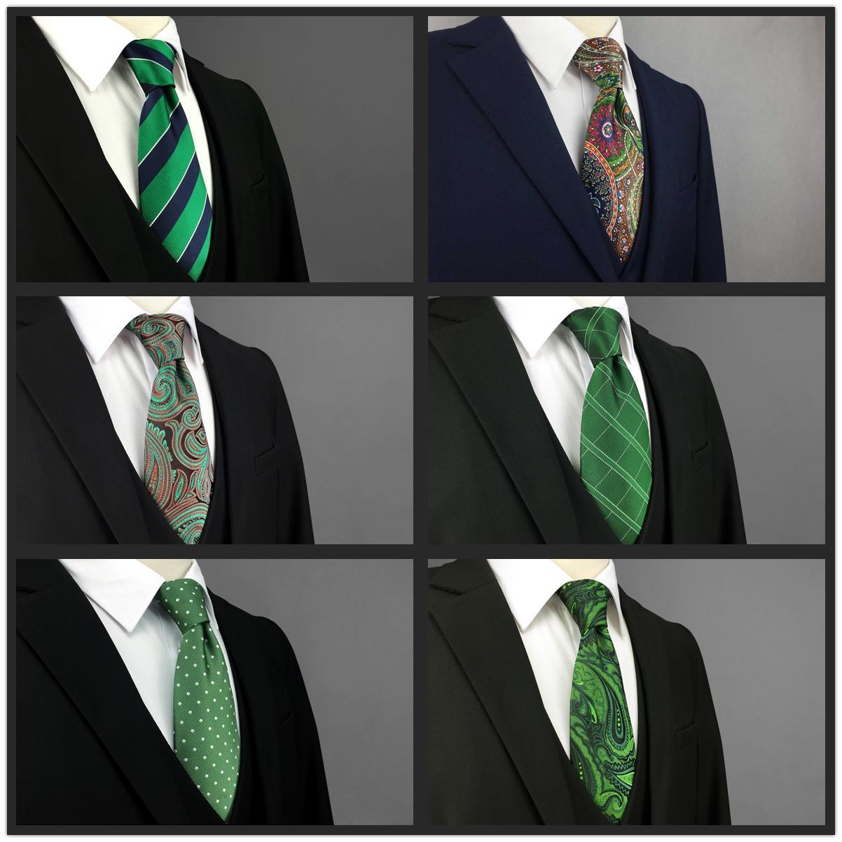 Зеленые проверки шелковые мужские галстуки галстуки классические модные платья свадебные связи для мужчин удивительный размер
