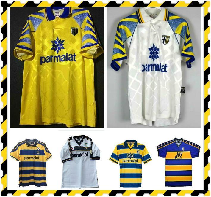 1995 1997 1999 2000 Parma Football Jersey 99 00 Parma Inicio Crespo Thuram Baggio Retro Jersey Cannavaro Ortega Classic Retro Camisa de Fútbol