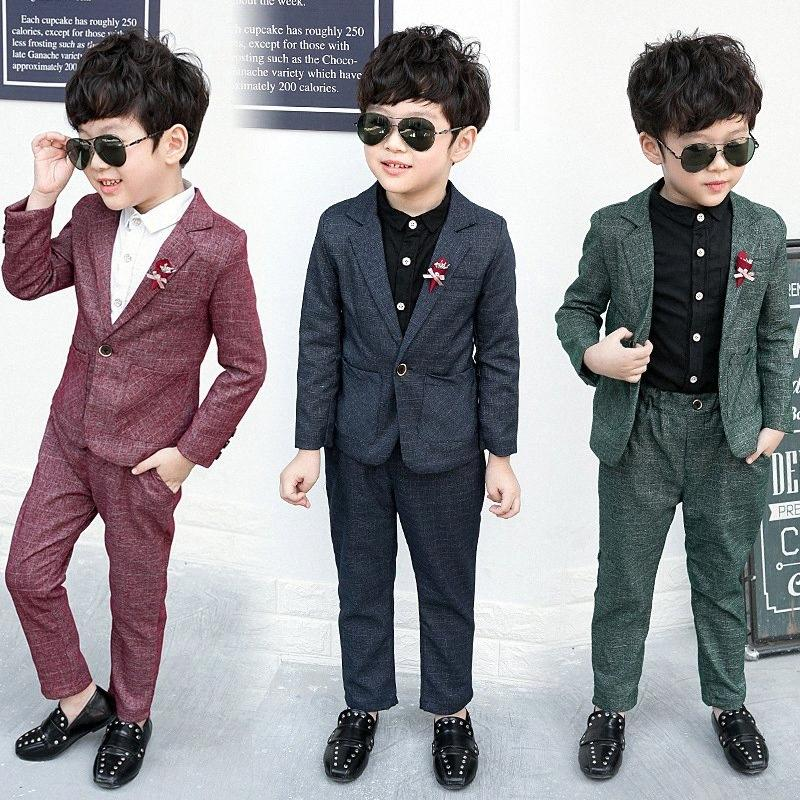 Baby Boys Suits Costume for Boy 2019 Autumn Single Breasted Kids Blazers Boy Suit Formal Wedding Wear Cotton Children Clothing Uyf3#