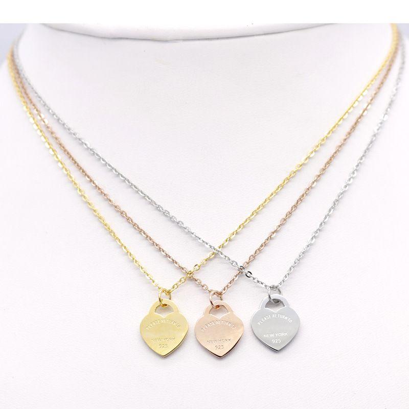 disegno 2020 Collana in acciaio breve gioielli in oro 18k titanio collana pendente cuore della pesca del femminile per la donna