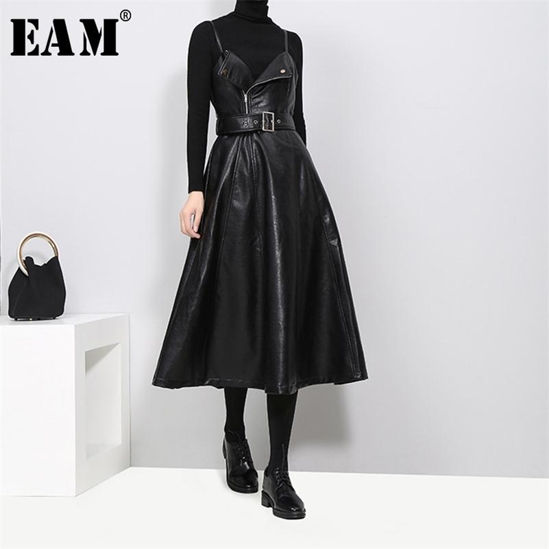 [Eam] nuevo primavera otoño color sólido sin tirantes negro cuero cintura cinturón con cremallera con cremallera suelta vestido de moda marea jd032 201204