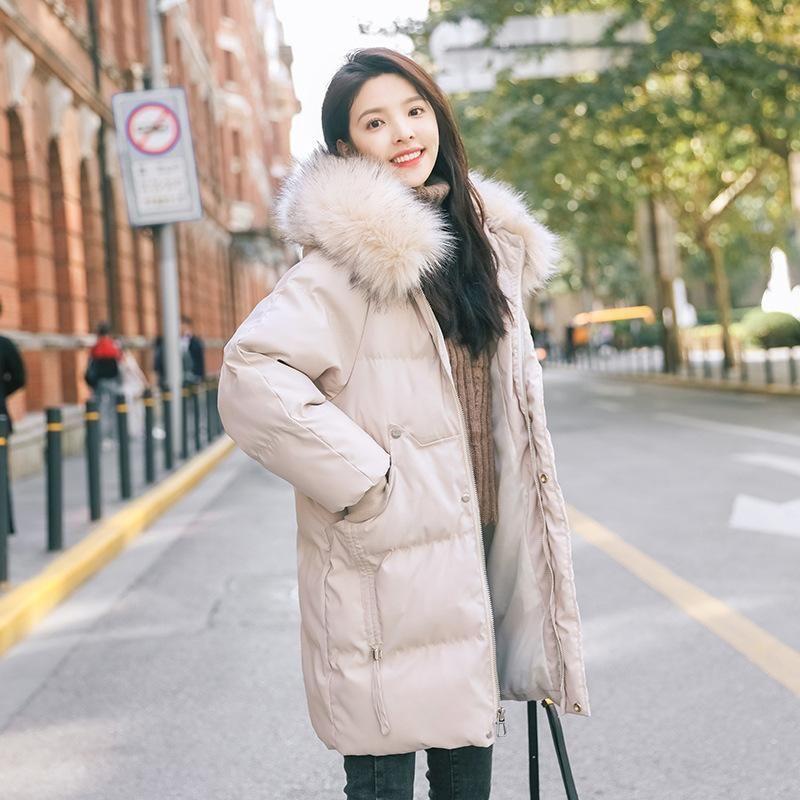 Frauen Down Parkas Flasche Edition Lose Chic Little Show dünne Baumwollgepolsterte Jacke in den langen Kleid weiblichen Studenten
