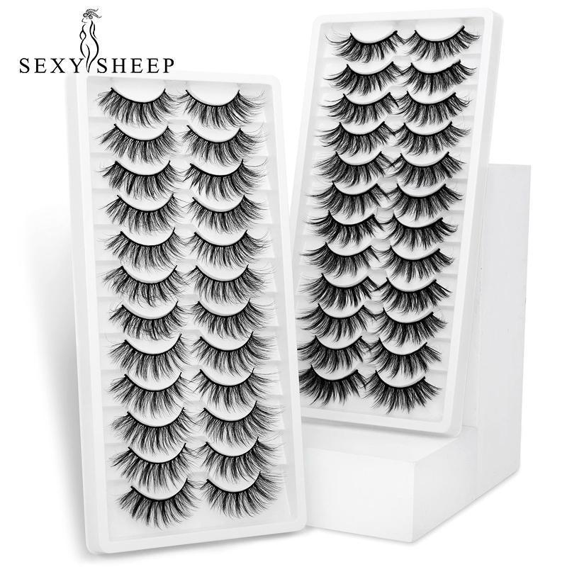 SexySheep 12 Paare Wimpern 3D Nerz natürliche falsche Wimpern Dramatische Volumen Wimpern Makeup Wimpernverlängerung Seide