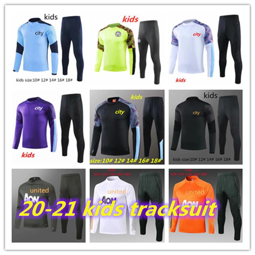 2020 2021 mahrez JESÚS De Bruyne KUN AGUERO KIDS TRACKSUIT chándal hombre de la ciudad SANE KIDS 19 20 traje de entrenamiento de fútbol unida