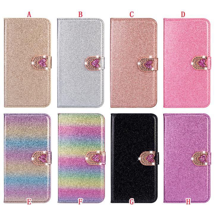 Étui en cuir de portefeuille Sparkle pour iPhone 12 Mini 11 PRO Max x XS XR SE 2020 8 7 Plus 6 6S 5 5S Glitter Diamant Heart Coeur Couvercle du support électroloplaque