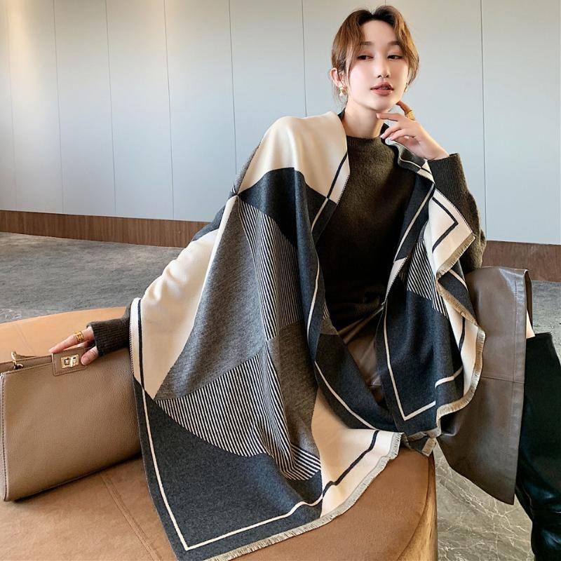 2021 Bufanda de invierno Mujeres Cashmere Dama cálida Rayas Bufandas Femeninas Manta gruesa Soft Shwls Wraps