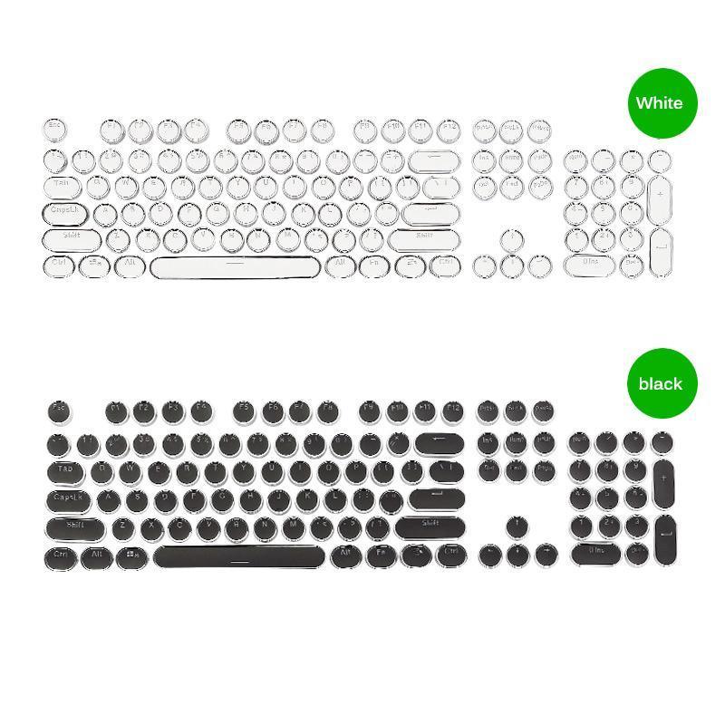 KeyCaps mecánicos con elegante LED de juego Teclado Steampunk Myeplewriter Key Cap de tapa 104 llaves para el jugador con clase retroiluminado estilizado
