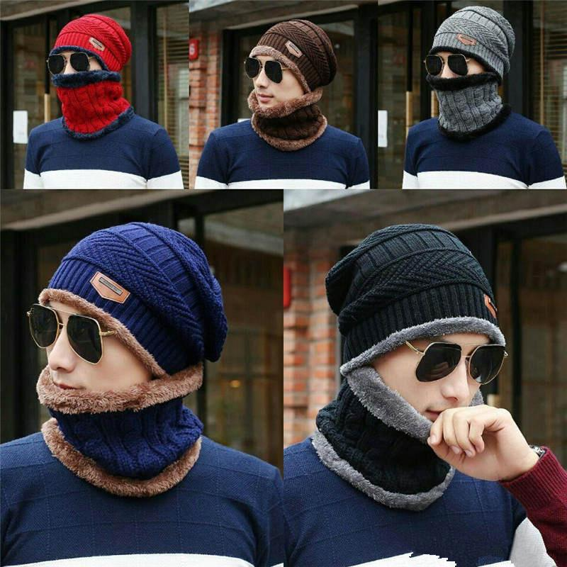 2020 HOT selling Winter hats Winter Beanie Hat Scarf Set Adult Kids Size Warm Knit Hat Thick Knit Skull Cap For Men Women
