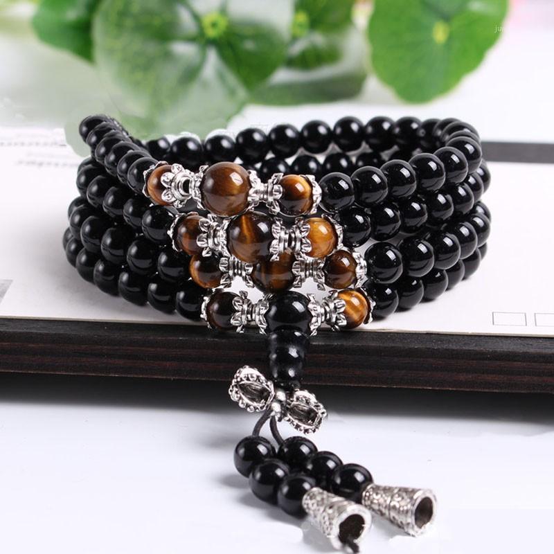 Moda Black Beads pulseras para mujeres hombres Tíbet Buddhist Buda Meditación Oración con cuentas con cuentas Mala Pulsera Larga Strand Bracelets1