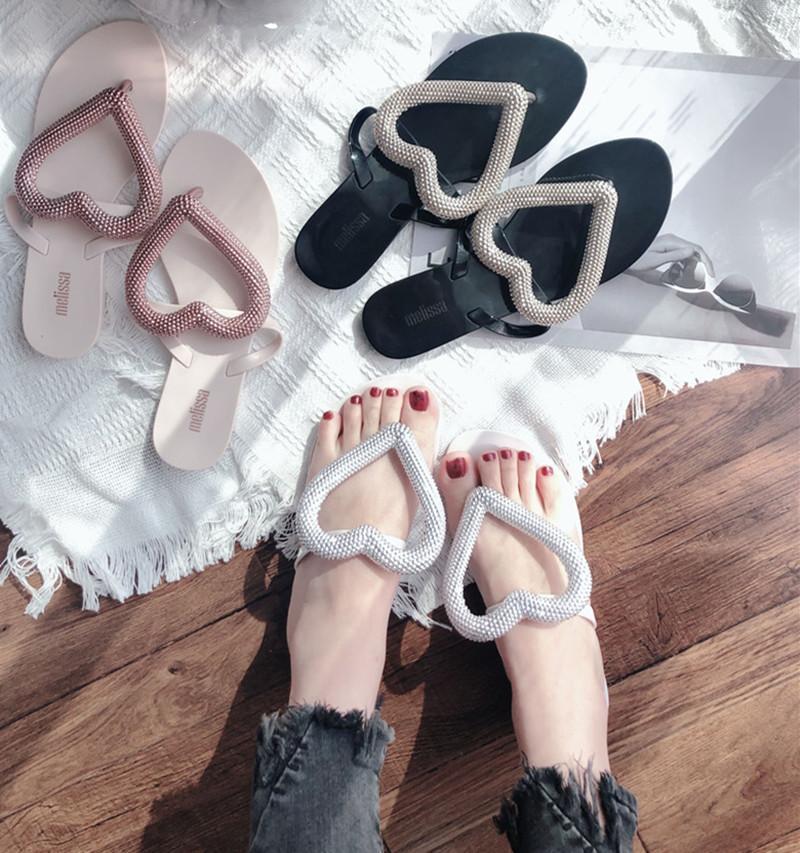 Melissa оригинального бренд Большого сердце Вьетнамка 2020 новых женщины тапочек желе обуви Melissa Мода Женского Желе обувь флип-флоп X1020
