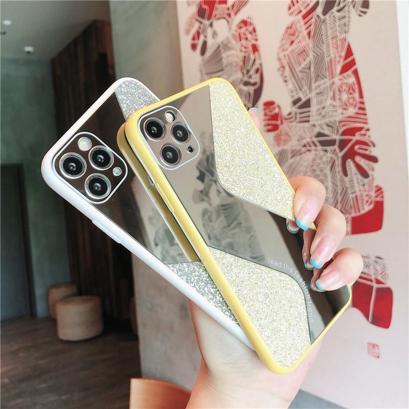 Vendita calda di S dello specchio di stile di scintillio casse del telefono Bling trucco protezione della copertura posteriore per iPhone 12 11 Pro Max X XR Xs Max 6S 6 7 8 più