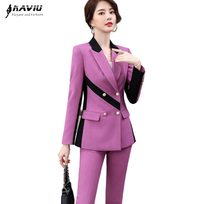 Fashion pants suits women Autunm high-end temperament business Patchwork long sleeve blazer and pants office ladies work wear