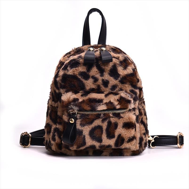 HISUELY stampa leopardata zainetti per le donne 2019 Mini Zaino Kids Fashion Back Pack Viaggi peluche Borse Inverno Bookbag