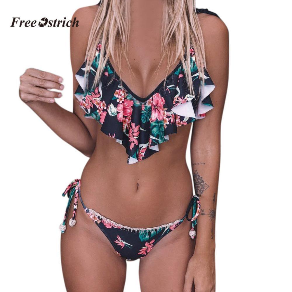 Ücretsiz Devekuşu Giysi Kadın Bandaj Biquini Set Push-up Brezilyalı Baskı Iç Çamaşırı Seawear Iç Çamaşırı Sewear İki Adet Yaz 201029