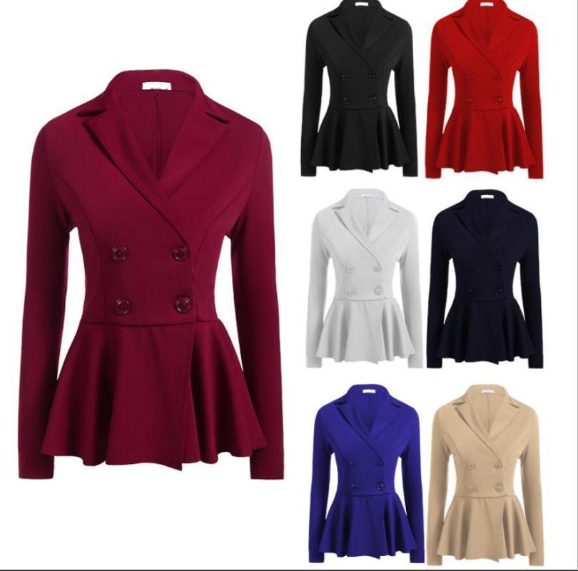 Uniforme, Indumento Ufficio Design Donne Blazer Coat Ruffle Doppio Petto Femme Giacche Solid Elegant Business Top Femminili Blazer