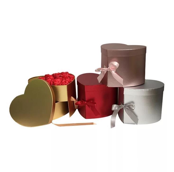 شكل قلب طبقة مزدوجة دوارة زهرة الشوكولاته هدية مربع diy الزفاف حزب ديكور عيد الحب زهرة التعبئة والتغليف حالة SN5066