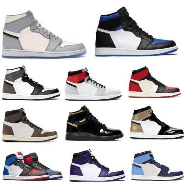Jumpman 1 1S Mokka Basketballschuhe Sneakers Herren Frauen Rauch Grau Obsidian Travis Scotts Royal Zehe Weiß Og High Top Qualität Tenis Schuh